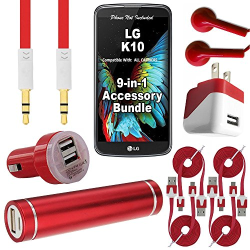 W-Wireless 9 Item Bundle for LG K10 (metroPCS/T-Mobile) Power Bank, 3.1 Amp USB Car Plug, USB Wall Home Charger, 4x USB 3.0 Data Cables, HD Stereo In-Ear Headphones, Auxiliary Cord (9 Piece - Red) (Lg 4x Hd Case compare prices)