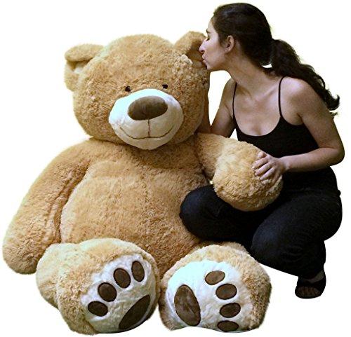 Big Plush Giant Teddy Bear Five Feet Tall Tan Color Soft Smiling Big Teddybear 5 Foot Bear front-204363