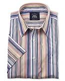 Savile Row Men's Multi Stripe Short Sleeve Casual Slim Fit Shirt Medium