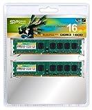 シリコンパワー メモリモジュール 240Pin DIMM DDR3-1600(PC3-12800) 8GB×2枚組 SP016GBLTU160N22