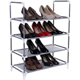 Songmics Armoire/étagères à chaussures 4 couches Gris 58 x 28 x 74 cm LSR04G