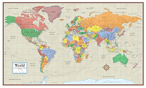 Swiftmaps World Contemporary Elite Wall Map Poster Mural 24H X 36W