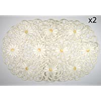 Embroidered Placemats Daisy Flowers on Cream, Set of 2, 11x17 Oval Shaped Machine Washable