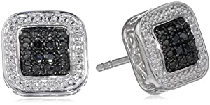 Sterling Silver Black Diamond Square Stud Earrings (.05 cttw)