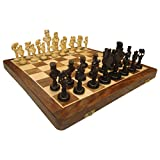"""Hand Made Wooden Chess Board 16""""x16"""" Folding With 4"""" Chess Set Of Ebony"""