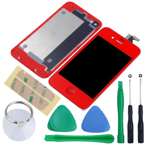 Generic Touch Screen Digitizer Glass With Flex Ribbon Cable & Lcd Display Assembly + Back Battery Cover + Home Button For Iphone 4 Gsm(At&T/T-Mobile Only, Not Fits For Cdma Verizon/Sprint) With Free Repair Opening Tools Kits (Red)