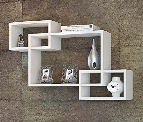 IBIZA Mensola da muro - Bianco - Mensola Parete - Mensola Libreria - Scaffale pensile per studio / soggiorno in un design moderno