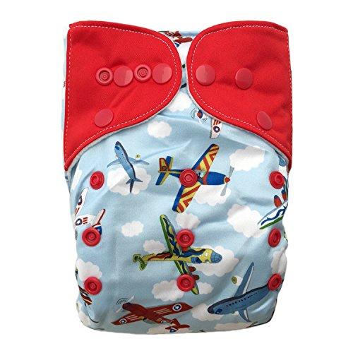 "HappyEndings ""Night, Night""» Micro Fleece All In One Diaper (+Pocket & 5 Layer Charcoal Bamboo Insert) ""Airborne"""
