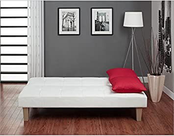 Modern White Click Clack Faux Leather Futon Sleeper Sofa Bed
