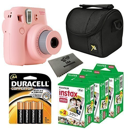Fujifilm Instax Mini 8 Instant Film Camera 5-in-1 Set (Pink) + 3 Extra Fuji Film Instant Film Twin Pack (Total 60 Shots) + Compact Camera Case + Pack of AA Batteries + Lens Cleaner Cloth TOP BUNDLE