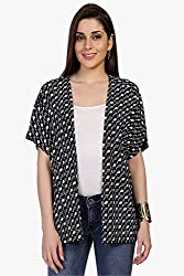 Funk For Hire Women Cotton Lycra knit Kite printed Shrug (Black, Size M)