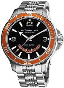 Stuhrling Original Men's 270B.331117 Pioneer Swiss Quartz Date Orange Bezel Watch