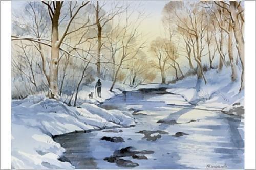 Walking the dog in a Winter Landscape