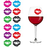 """Kiss"" Lips Lipstick Print Silicone Drink Markers, Set of 12"