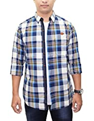 AA' Kuons Avenue Men's Beige Olive Checks 100% Premium Cotton Long Sleeve Casual Party Shirt With Elbow Patch
