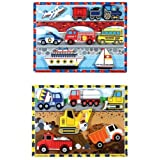 Melissa & Doug Chunky Puzzles 3-Pack Combo Bundle - Vehicles, Construction & Fire Truck Puzzles
