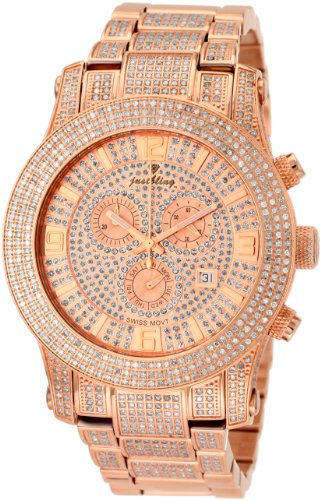 "JBW Men's JB-6235-C ""Lynx"" Six Carat Diamond Mother-Of-Pearl 18K Rose-Gold Plated Stainless Steel Watch"