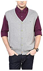 UV&W Men's Cotton Sweater (FWFK3333_S_Grey, Grey Small)