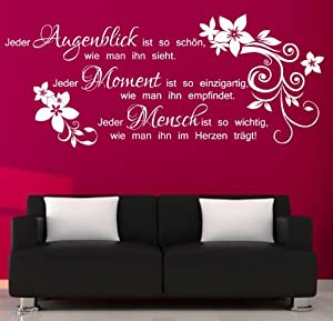 amazon wandtattoo zitate deutsche zitate leben. Black Bedroom Furniture Sets. Home Design Ideas