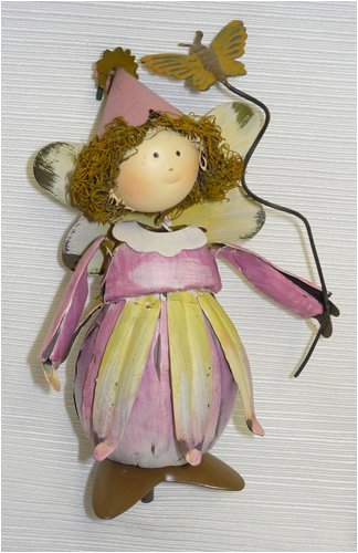 Pink Puffy Dress Metal Garden Fairy Gift Stake