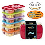 3-Compartment Multicolored Bento Lunch Box Containers for Adults & Kids (6 Pack) + FREE Puzzle Sandwich Cutter! Easy Tab Lids, BPA-Free, Microwave/Dishwasher Safe by smartYOU Products - BEST QUALITY!