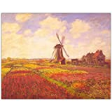 Tulips in a field by Claude Monet-Framed 24x32 Canvas Art