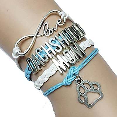 Infinity Love Dachshund Mom Dog Paw Bracelet Gift for Puppy Lover Bangle