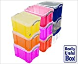 Really Useful Plastic Boxes 35 Litre, Assorted Colours, Pack of 9