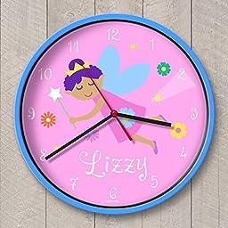 Fairy Princess (Dark Skin) Personalized Clock Blue Case