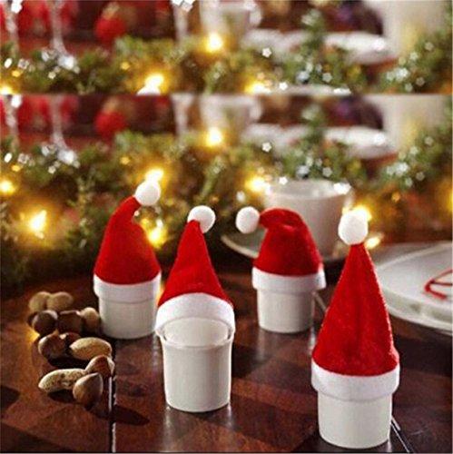Lalang 10 pcs Rouge Père Noël Verre à vin Chapeau Verres à Vin Marquer Anneau Décorations de Noël