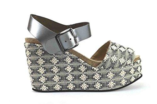 scarpe donna LOGAN 40 EU zeppe beige tessuto pelle AK641