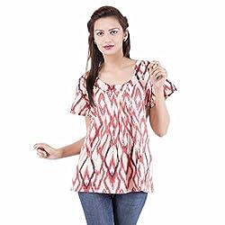 Jaipur Kala Kendra Women's Cotton Printed Half Sleeves Casual Top Medium Pink
