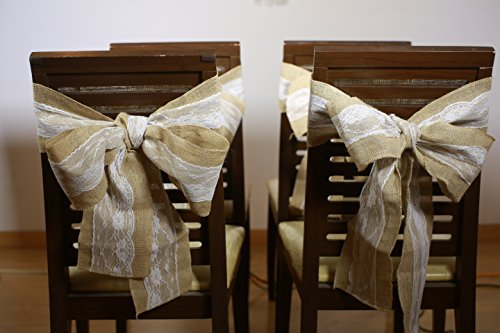 Burlap Chair Sashes with Lace Shabby Chic Rustic Wedding Bow Decor (Pack of 10)
