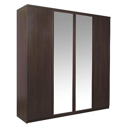 Furniture To Go Pello 4-Door Wardrobe with 2 Mirror Doors, 208 x 220 x 58 cm, Dark Stained Pine