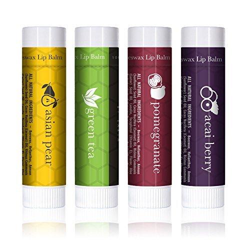 Baume à lèvres exceptionnellement rafraîchissant aux parfums exotiques (lot de 4 sticks à lèvres) - Soin hydratant pour les lèvres à la cire d'abeille 100% naturelle, pour réparer les lèvres asséchées et gercées. Fabriqué aux États-Unis par Beauty by Earth