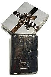 Michael Kors Jet Set Passport Case Holder Wallet with Gift Box (Signature MK Mirror Metallic Nickel)
