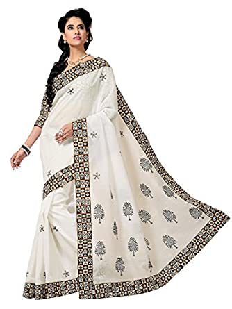 Triveni Indian Designer Party Wear Off White Fabulous Embroidered Cotton Saree available at Amazon for Rs.1318