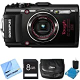 TG-4 16MP 1080p HD Waterproof Digital Camera Black 8GB Memory Card Bundle includes Black TG-4 Digital Camera, lens cleaning kit, carrying case, 8GB memory card and micro fiber cloth