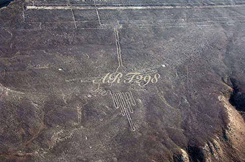 風景写真ポスター ナスカ34  世界遺産! 南米ペルー、果てしなく広がる過酷な乾燥地帯に現れる謎に包まれた地上絵「ハチドリ」。いったい、何のために、どのようにして描かれたのだろうか? (A1 84.1×59.4cm)