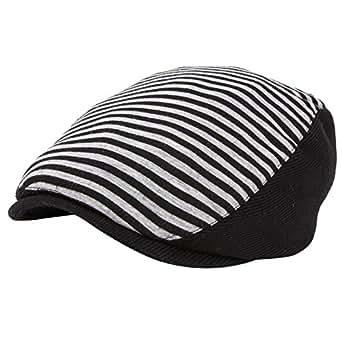 YQ Unisex Pinstripe Flat Hats Ivy Caps Cabbie Adult Size Black