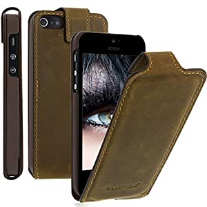 Blumax® Ultraslim Flipcase Ledertasche Flip cover Case Hülle Etui für Apple iPhone 5 / iPhone 5s USED Antik Kaffee Dunkel Braun aus echtem Handytasche mit Magnetverschluss
