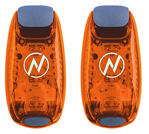 LED Safety Light (2 Pack) + FREE Bonuses | Clip On Strobe/Running Lights for Runners, Dogs, Bike, Walking | The Best High Visibility Accessories for Your Reflective Gear, Bicycle etc (Orange) (Running Rain compare prices)