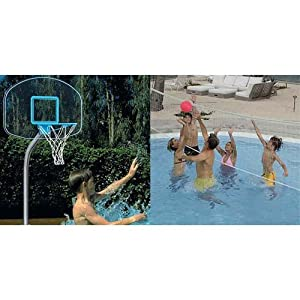 Dunnrite Regulation Clear Stainless Combo Swimming Pool Basketball Hoop and... by Dunnrite Products