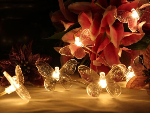 Battery Operated Warm White Led String Lights With Butterfly, Christmas Lights, Party Lights (Free Shipping)