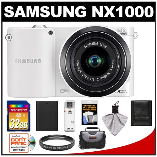 51xjlrz10rL Samsung NX1000 Smart Wi Fi Digital Camera Body & 20 50mm & 16mm f/2.4 Lens (White)