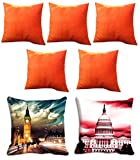 2 Pc Monuments Digitally Printed Cushion Cover (16x16) With 5 pc Solid color Cushion cover
