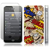 iPhone 4S / iPhone 4 Comic Capers Multicoloured Hard Back Cover Case / Shell / Shield + Screen Protector By Creative 11by Creative Eleven