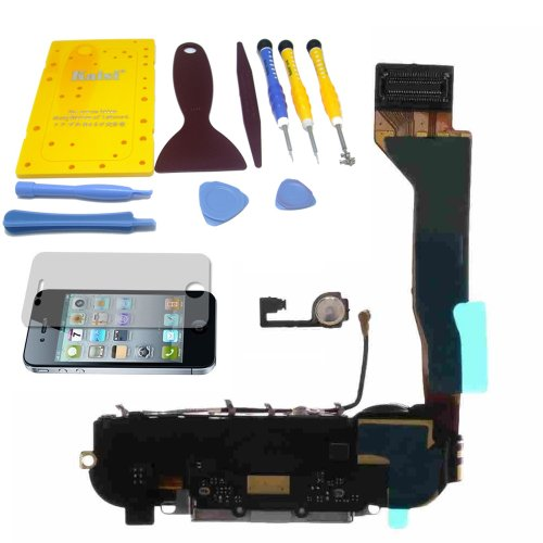 Zeetron Iphone 4 Premium Replacement Charing Port Dock Assembly White (Includes Speaker, Microphone, Home Button Flex, Antenna, Charging Flex) + Tool Kit & Screw Mat + Zeetron Microfiver Cloth + Screen Protector For Cdma/Verizon/Sprint