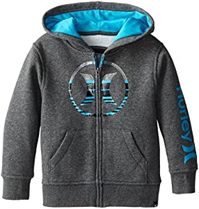 Hurley Little Boys' Icon LF Hoody, Medium Grey Heather, 3T