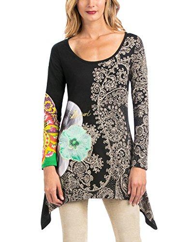 Desigual - TS_MIL, T-shirt da donna, nero (negro), 38 (Taglia produttore: S)